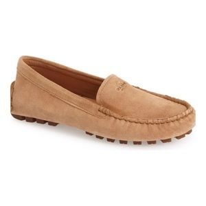 COACH Tan & Gold Suede Driver Loafer Flat